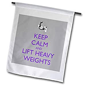 FL _ 159607 evadane – 趣语 – KEEP CALM and Lift HEAVY weights ,紫色 – 旗帜 12 x 18 inch Garden Flag