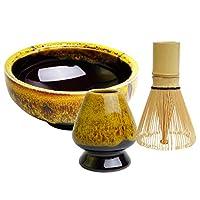 抹茶碗+抹茶竹打蛋器+打蛋架抹茶仪式入门套装,适合传统日式茶道。 黄色
