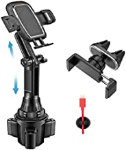 車載杯架手機支架 - 帶通風孔手機支架和 3 根電纜夾,通用可調節手機杯架,適用于 iPhone 11 Pro/XS Max/XR/8/7/6s/三星 S10+/S20/S9/Note 10/9/8 GPS(2 個支架)