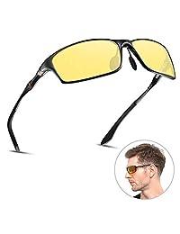 HD 男式夜视眼镜适用于驾驶偏光防眩光 NIGHT SIGHT 驾驶眼镜