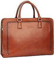 Banuce 女式全粒面皮革公文包商务挎包包适用于 14 寸笔记本电脑手提包棕色