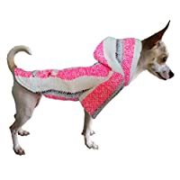 Yani's Gifts Baja 斗篷狗狗服装,温暖狗丝,舒适正品狗狗用巴哈连帽衫,舒适的 Jerga 斗篷,适合您的爱犬,粉红色和白色狗狗穿戴 粉色,白色 XX-S