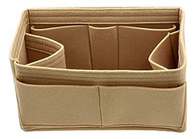 毛毡钱包手提包收纳包内芯 - 多口袋收纳衬和塑身衣 米色 中
