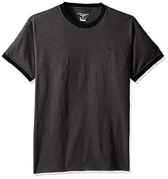 Champion 男式经典针织 Jersey Ringer T恤, Granite Heather/Black, S