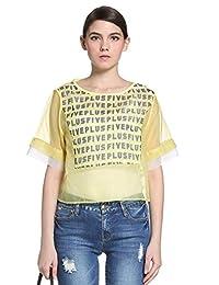 Five Plus 女式 欧根纱字母印花圆领宽松套头衬衫 2152011380