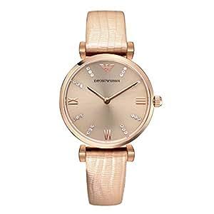 ARMANI 阿玛尼 意大利品牌 米色镶钻皮带石英女士手表 AR1681