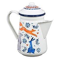 Folklore Woodland 水彩日出单色珐琅咖啡壶,22 液体盎司