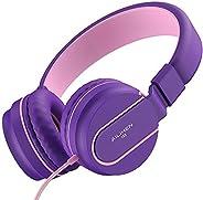 AILIHEN I35 儿童耳机,适合儿童男孩女孩,带麦克风可折叠可调节耳机,适用于学校手机、电脑 iPad 平板电脑 粉色紫色