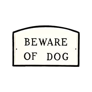 Montague Metal Products SP-4S-WB Beware of Dog Arch Statement Plaque,标准,白色和黑色