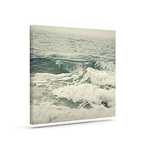 "Kess InHouse Cristina Mitchell Crashing Waves Teal Ocean 户外帆布墙艺术 16"" x 20"" 蓝* CM2011AAC03"