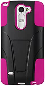 Reiko Silicone with Cover Cell Phone Case for LG G STYLUS - Retail Packaging - Hot Pink/Black