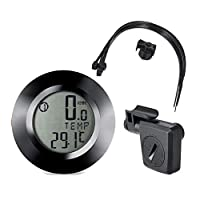 自行车里程表速度计,LCD背光显示屏无线防水自行车里程表带延长架自行车运动配件适用于户外运动 黑色 15923890165212