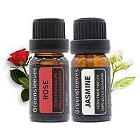 GREENSLEEVES 玫瑰檀香精油套装,100%纯芳香*级喷雾器,加湿器,按摩油 - 2 x 10毫升 Rose+Jasmine