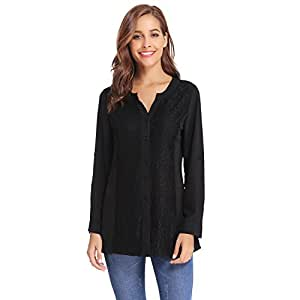 Luxspire 女式休闲蕾丝长袖 V 领雪纺开襟衬衫 黑色 X大码
