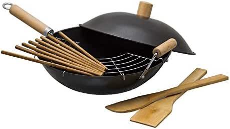 Oriental 碳钢厨师炒锅 带木质手柄 10 Inch
