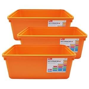 LOCK&LOCK 乐扣乐扣 DIY收纳箱3件套 橙色 INP311OS(15L*3)