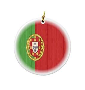 Rikki Knight 葡萄牙国旗仿古木质设计圆形陶瓷双面圣诞装饰