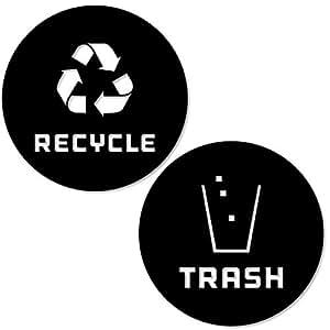 回收和垃圾贴纸 现代徽标 (1ea) 符号用于整理垃圾桶或垃圾容器和墙壁 - 乙烯基贴纸 Small - 5.5x5.5