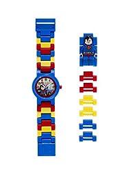 LEGO乐高9005619儿童DC宇宙英雄超人塑料手表,配链条表带和人物模型