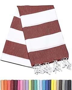 Barcelonetta | 土耳其毛巾 | 浴巾 | * 棉 | 白色条纹土耳其Peshtemal | 土耳其制造 酒红色