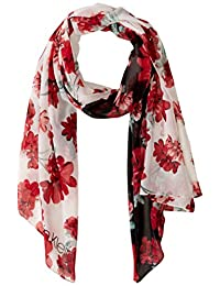 Calvin Klein 女士拼色花卉涤纶雪纺围巾