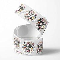 Unihom - 感谢贴纸卷(2 件套,1000 件)2.5 厘米/1 英寸小号自粘标签卷精品用品用于商业信件,礼品包装,客户信封和零售袋(花朵)