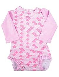 长袖*服连体泳衣适合女孩 & 婴儿学步女童游泳套装 UV40 *