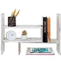 可调节扭转木桌面储物柜展示架,台面书柜 M 白色