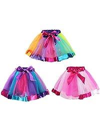 kilofly 3 女孩芭蕾舞彩虹芭蕾舞短裙 公主薄纱裙