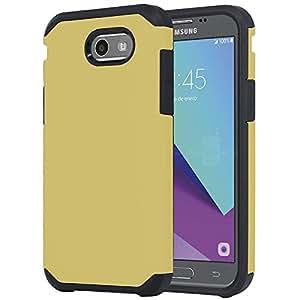 kaleidio 保护套适用于 Samsung Galaxy J3j327p (2017)/GALAXY J3emerge [ ASTRO 盔甲 ] 坚固抗冲击 [ 减震 ] [ 双层 ] 混合覆盖 [ overbrawn 撬具 ] Astro Gold/Black