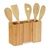 Relaxdays 厨房用具架,竹制,5件套,厨师勺,可伸缩餐具架,高宽:17 x 25 x 10厘米,自然色