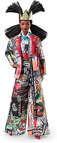 Barbie 芭比 收藏:Jean-Michel Basquiat 合作芭比娃娃 配王冠和發辮,穿著受藝術啟發的西裝和配飾,帶有娃娃架和真實性證書