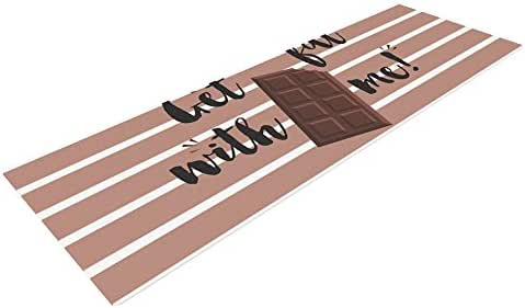 "KESS InHouse KESS 原创""Get Fat""棕色巧克力瑜伽垫,182.88cm X 60.96cm"
