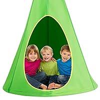 Costzon 儿童巢秋千椅,带可调节绳子的悬挂吊床座椅,2 个窗户和 1 个入口,悬挂树帐篷适合室内室外使用,承重 250 磅,所有的配件包括在内 40 英寸 * FWAM-02677