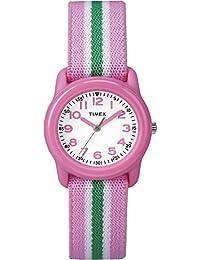Timex 天美时 女孩 TW7C05900 腕表 模拟显示 树脂 Pink/Green Stripes 弹性织物表带