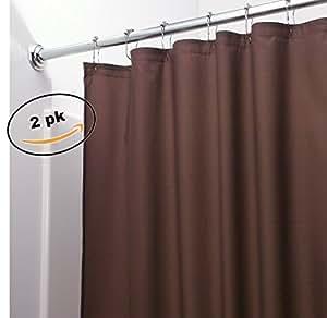 Elaine Karen 2 件装重型防霉乙烯基防水浴帘衬垫 177.8 x 182.88 cm 带磁铁 棕色