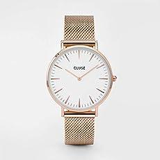 Cluse CL18112 Women's La Boheme White Dial Rose Gold Steel Mesh Bracelet Watch