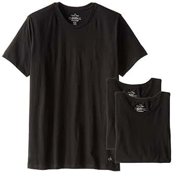 Calvin Klein 卡尔文·克莱恩 男士 棉质经典短袖 圆领T 恤 3件包装 黑色 小号