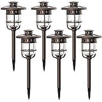 Solpex 太阳能道路户外灯,玻璃和青铜表面,每盏灯2个明亮 LED,户外防水自动太阳能灯,适用于庭院、庭院、草坪、花园和景观 - 暖白色(6 个装)