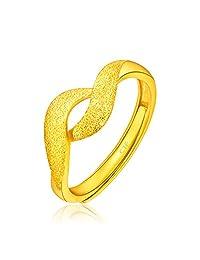 周大福珠宝首饰绕花足金黄金戒指Plus计价F197075(工费68)3.72克(亚马逊自营商品, 由供应商配送)
