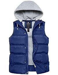 Wantdo 男式冬季棉服背心可拆卸連帽夾棉保暖無袖夾克大衣