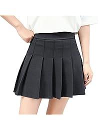 Hoerev 女式女孩短款高腰褶皱溜冰鞋网球学校裙
