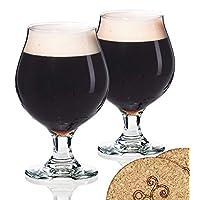Ecodesign Drinkware 2 Libbey 啤*杯比利时风格调光郁金香 - 453.59 克羊肉玻璃 - 2 件套,带杯垫