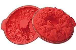 Silikomart 硅胶花哨和功能烤盘系列蛋糕盘,大丽 红色 24.310.05.0063