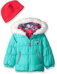 London Fog 女童连帽羽绒夹克,带围巾和帽子
