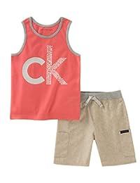 Calvin Klein 男孩2件背心短裤套装