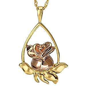 Memorial Gallery MG-3169gptt Rose Tear Drop Two Tone Gold Plating Cremation Pet Jewelry