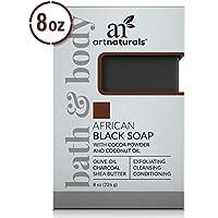 ArtNaturals 非洲黑肥皂 - (8 盎司/226克)- *祛痘* - 去角質、清潔和調理面部和沐浴露 - 乳木果油、橄欖油和炭黑色