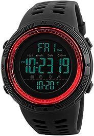 Tonnier Watch 男式戶外運動手表多功能數字 LED *雙時背光秒表防水男士表帶 PU 表帶