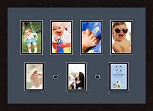 Art to Frames 双多衬垫-580-586/89-FRBW26061 拼贴框架照片垫双衬垫带 4-4x6 和 3-3.5x5 开口和Espresso 框架
